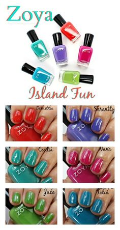 Zoya Island Fun Nail Polish Collection Swatches - Demetria, Cecilia, Jace, Nana, Talia, Serenity