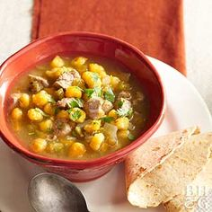 Hominy offers a pleasing corny flavor that complements the green chiles and tomatillos (in the salsa verde) in this classic New Mexican favorite. Serve with whole grain or corn tortillas for a satisfying supper.