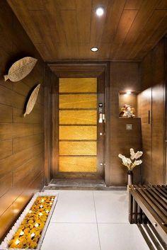 Best Verandah - Patio - Foyer Design in India Main Entrance Door Design, Wooden Main Door Design, Home Entrance Decor, Entry Way Design, Entrance Foyer, Foyer Design, House Entrance, Door Design Interior, Interior Decorating
