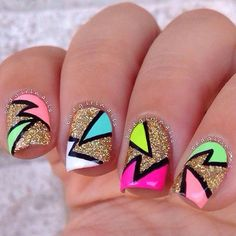 Nails via #badgirlnails #colorful #glitter #gold