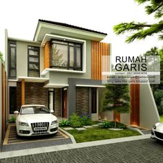 Simple as it can be, narrow lot house plans are design for compact layout and not luxury. Two Storey House Plans, Double Storey House, Narrow Lot House Plans, My House Plans, 2 Story House Design, House Floor Design, Small House Design, Modern House Design, Modern Minimalist House