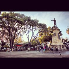 Plaza 25 de Mayo. City Centre. Main Square. Monument honoring Simon Bolivar.