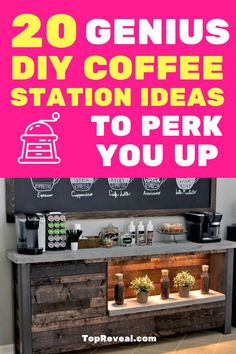 Start your day off right with these 20 DIY Coffee Bar Ideas. Easy tutorials you can use to create an at-home space for coffee, tea, or any other beverage. Bar Station, Gold Bar Cart, Diy Bar, Small Meals, Woodworking Jigs, Low Carb Desserts, Bar Furniture, Little Houses, Interior Decorating