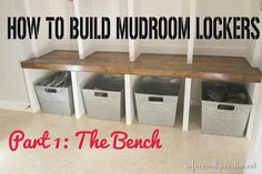 Get your home winter-ready with this DIY tutorial for building your own mudroom bench. This is ideal storage for boots, shoes, and winter wear!