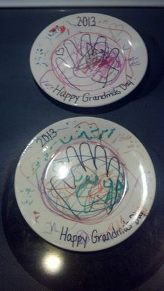 Glass plate from the dollar tree...permanent markers...bake in oven at 350 degrees for 30 min... Great gift for mothers day for grandma!!!