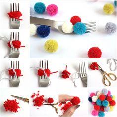 Make Pom Poms with a Fork
