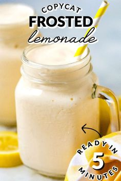 This Chick-Fil-A Copycat Frosted Lemonade recipe is so easy to make and takes just 5 minutes. All that you need is lemon juice, sugar, water, and ice cream. The recipe serves 6 and costs $4.86 to make. That's just 81¢ per serving.  via @easybudgetrecipes Sweet Desserts, Easy Desserts, Dessert Recipes, Dinner Recipes, Drink Recipes, Cookie Recipes, Delicious Desserts, Punch Recipes, Alcohol Recipes