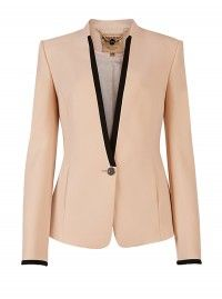Ted Baker Teamo Contrast Trim Crepe Blazer in Beige (nude) - Lyst Trajes Business Casual, Business Attire, Blazers For Women, Suits For Women, Clothes For Women, Blazer And Shorts, Blazer Jacket, Pink Jacket, Tailored Jacket