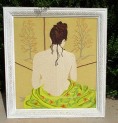 Embroidery Needlework Painting Nude Woman by retrosideshow on Etsy