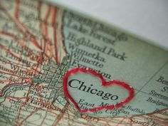 I Heart Chicago embroidered vintage map by refashioned on Etsy