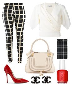 """""""Black plaid pants office wear"""" by ncjs on Polyvore featuring Lanvin, Chanel, Chloé and Essie"""