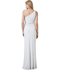 Adrianna Papell Beaded OneShoulder Gown #Dillards