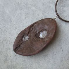 Wood & stone pendant necklace - eucalyptus wood holding water worn clear quartz. handmade by NaturesArtMelbourne, $