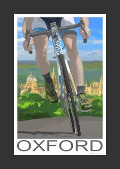 Cycling overlooking Oxford (Art Print)