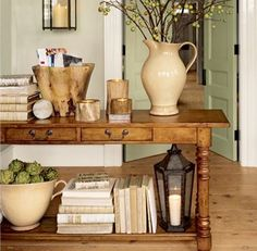 console table. Like this idea for storing my photo books