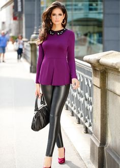 Purple Peplum Top, Black (faux) Leather Pants & Hot Pink Pumps.  ♥