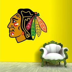 Shop Hockey style wall stickers to add inspiration to your game room. Sports Wall, Sports Logo, Wall Stickers, Wall Decals, Chicago Blackhawks Logo, Ice Hockey Teams, Workout Rooms, Logos, Inspiration