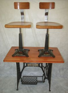 Vintage Industrial Singer Sewing Machinist Machine Chairs and Table Set