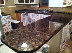 DIY Why Spend More: Faux granite countertops for next to nothing