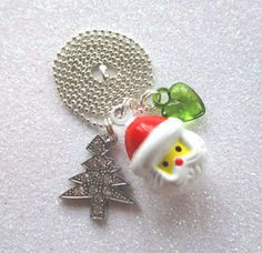 Here Comes Santa Claus Christmas Tree charm necklace by heysista