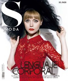 Christina Ricci wears a black hat with a red lace dress on S Moda magazine February 2016 cover
