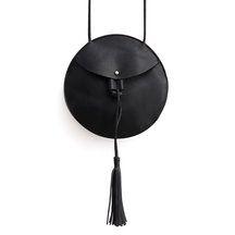 Round Mini Cross Body Bag in Black with Tassel