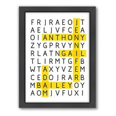 Americanflat Patricia Pino ''Word Puzzle'' Framed Wall Art, Multicolor