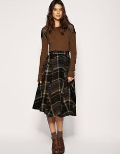 full plaid skirt in brown and grey hues