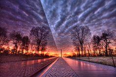 Catching the sunrise at the Vietnam Veterans Memorial in DC