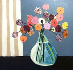 Lulie Wallace - Floral Paintings, bright colors, beautiful combos, great layering, inspiring.