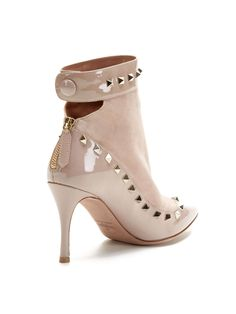 Studded Suede Patent Leather Combo Bootie by Valentino at Gilt