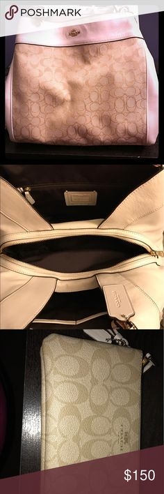 Coach Purse and Wristlet White and tan, authentic coach, bought last month and used a couple times. I used the Wristlet as a wallet as it could hold more. Price is firm. Coach Bags Shoulder Bags