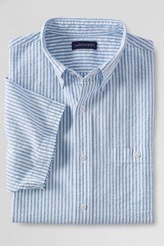 SEERSUCKER: the crinkles absorb moisture & move it off your skin.  Excellent summer wear. Cool farics, smart styles.  mens-traditional-fit-short-sleeve-seersucker-shirt  $50+ Lands' End