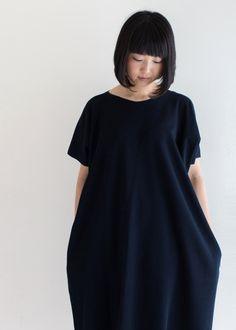 """""""Rectangle"""" One-Piece Dress Linen Cotton Blend / Navy"""