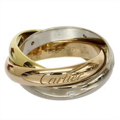 Cartier 18K Yellow/Pink/White Gold Diamond Trinity Dialing Ring US Size 4.75 With Box/Cert