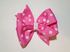 Pink polka dot hair bow by BrownEyedBowtique on Etsy, $4.00