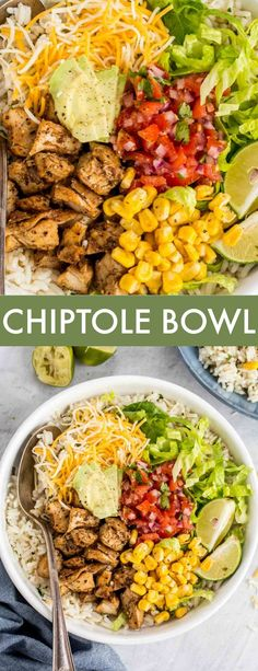 Chipotle Chicken Bowl Easiest recipe for homemade Chicken Chipotle Bowl. The bowls are loaded with juicy chipotle seasoned chicken over a bed of cilantro lime rice and topped with avocado, corn, cheese and sour cream. Chipotle Chicken Bowl, Chicken Rice Bowls, Chicken Burrito Bowl, Chicken Burritos, Chipotle Burrito Bowls, Rice For Burritos, Chipotle Chicken Salad Recipe, Fajita Bowl Recipe, Avocado