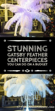 How To Make Gorgeous DIY Ostrich Feather Centerpieces (+ 7 variations) - - Want to save money on your wedding or event centerpieces? Learn how to make your own ostrich feather centerpieces with these step by step instructions. Roaring 20s Birthday Party, Great Gatsby Themed Party, Roaring 20s Wedding, Gatsby Wedding, Roaring Twenties, Party Centerpieces, Diy Party Decorations, Centerpiece Flowers, Quince Decorations