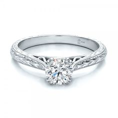 Custom Antique Hand Engraved Diamond Solitaire Engagement Ring - 100716 | Joseph Jewelry Seattle Bellevue