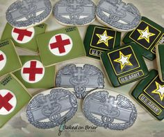 Combat Medic Military Cookies | by Baked on Briar Crazy Cookies, Man Cookies, Cute Cookies, Cupcake Cookies, Sugar Cookies, Cupcakes, Army's Birthday, Happy Birthday Man, Army Medic