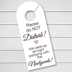 Wedding Door Hanger Please Do Not Disturb By Blisspaperboutique