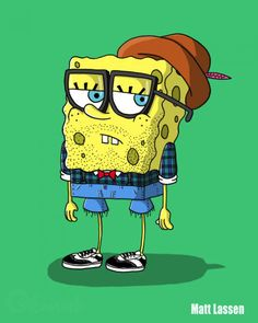 Persos de dessins animés mode Hipster : Bob L'éponge. #bobleponge #hipster…