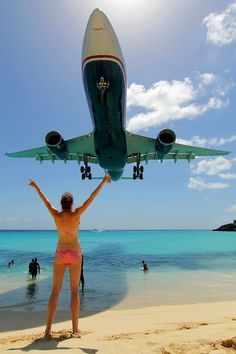 maho beach, st maarten. so fun! be careful when the planes takeoff though!!  - Explore the World with Travel Nerd Nici, one Country at a Time. http://travelnerdnici.com
