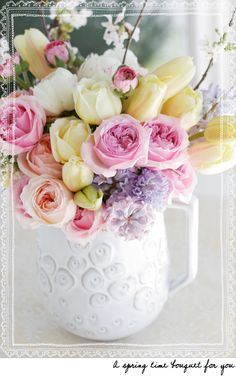 Pink, pale yellow & lavender flowers