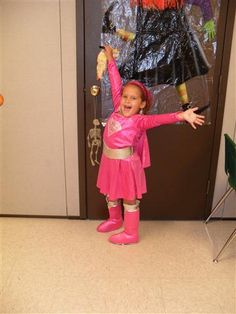 """Gaviella wanted to be the pink super girl since she picked it out last year on clearance after halloween she loves running really fast acting like she is flying!"" Enter your own photos in our Kids' Costume Contest for a chance to win a Toys R Us gift card http://ydr.upickem.net/engine/YourSubmission.aspx?contestid=73332"