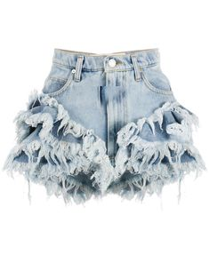 Light blue cotton frilled high-rise denim shorts from Natasha Zinko featuring layers of frills, raw edges, a waistband with belt loops, a button and zip fly, a short length and a five pocket design. Kpop Fashion Outfits, Girls Fashion Clothes, Stage Outfits, Edgy Outfits, Mode Outfits, Denim Fashion, Girl Fashion, Girl Outfits, Womens Fashion