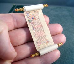 Miniature Scroll Medieval Gold Illuminated Scroll with by whydgc