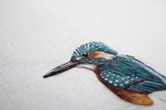 Kingfisher Hand Embroidered Hoop Art 9 por EmillieFerris en Etsy