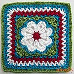 Flower Tile Free Crochet Granny Square Pattern