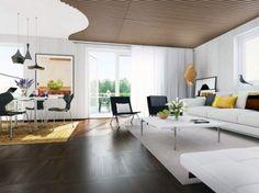 Bright Modern Apartment Interior Ideas Open Living Area with Wood: Open Living Spca With Wood Ceiling Strip Decor 800x600 Foto Wallpaper 01